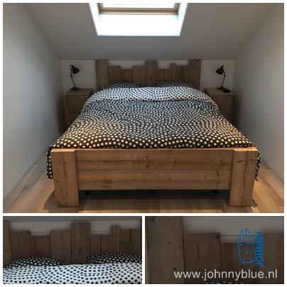 Bed Guusje Modern, eigenwijs, grappig, kasteelachtig: dit typeert ons steigerhouten bed Guusje. De achterwand is speels door verschillende hoogtes te gebruiken. Prijs: op aanvraag.