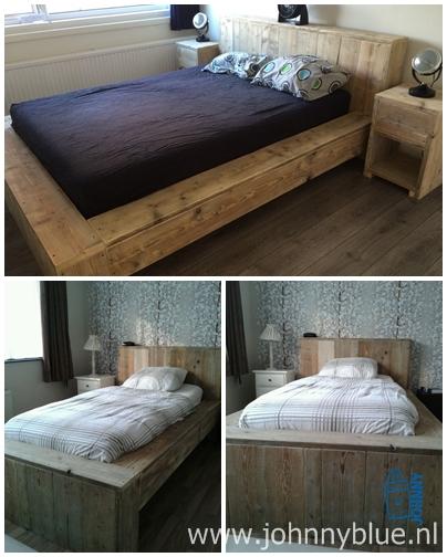 Bed Mieke Dit bed, gemaakt van gladgeschuurd gebruikt steigerhout, is voorzien van een brede rand aan weerszijde van het bed. Het hoofd- en voeteneinde is ook verbreed. Hierdoor krijgt het bed een strak en modern uiterlijk. Prijs: 2.00 x 0.90 - € 325,- 2.00 x 1.40 - € 375,- 2.00 x 1.60 - € 399,- 2.00 x 1.80 - € 425,-