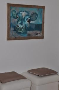 Schilderij met steigerhouten lijst
