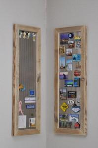 Magneetbord 'Linda' Metalen bord voorzien van een steigerhouten lijst. In verschillende maten verkrijgbaar. Prijs: vanaf € 49,95