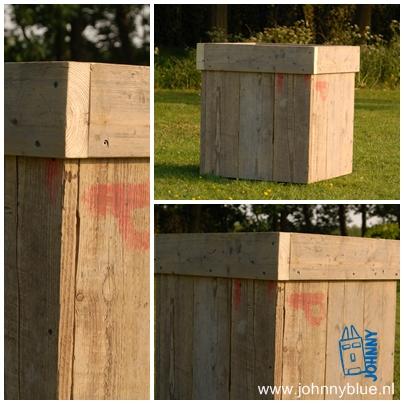 Plantenbak |Van gladgeschuurd, gebruikt steigerhout. Handig te verplaatsen door de (onzichtbare) zwenkwielen. De maten van de plantenbak zijn door jou te bepalen. Prijs: vanaf € 75,-, afhankelijk van maten en wensen.