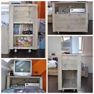 Audiomeubel Roan Dit tv meubel is speciaal gemaakt bij het tienerbed Roan. Voorzien van vakken voor dvd's en boekjes (vooraanzicht), een plank voor DVD recorder en stereo (prachtig beeld vanuit bed) en aan de achterzijde een handige opbergruimte. Op wieltjes dus gemakkelijk te verplaatsen. Prijs: € 195,-