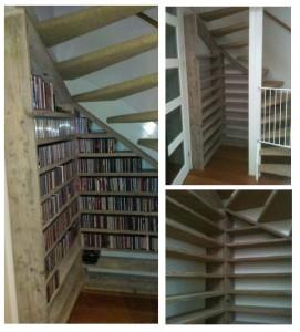 CD kast Een typisch staaltje maatwerk: een cd kast voor honderden cd's, mooi weggewerkt onder de trap. Eventueel aan te vullen met verlichting. Prijs: op aanvraag