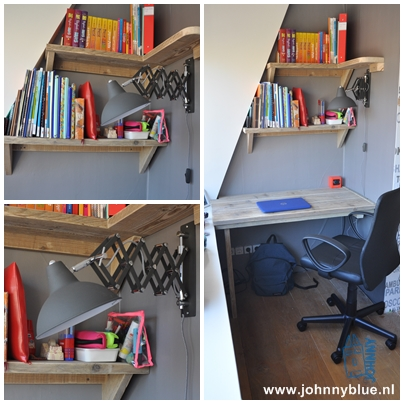 Bureau Romée Speciaal op maat en naar wens gemaakt bureau voor een mooi hoekje in de (tiener)slaapkamer. Voorzien van boekenplanken w.v. er 1 de hoek om gaat. Prijs: op aanvraag, afhankelijk van maten en wensen.