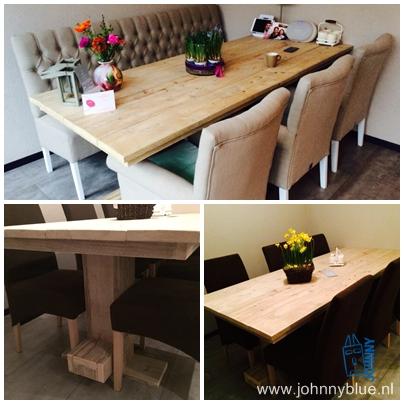 Eettafel Luuk Zelf ontworpen door onze klant, gemaakt door onze meubelmaker. Een robuuste kloostertafel die absoluut niet misstaat in een modern interieur. In alle maten leverbaar. Prijs: op aanvraag