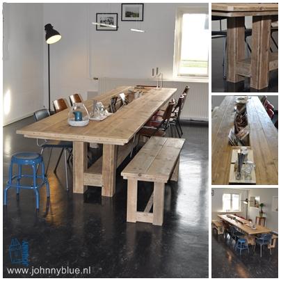Eettafel Bas Deze eettafel, van wel 4 meter lang, is in opdracht gemaakt van SportLokaal. De opdracht was een robuuste, gezellig tafel te maken waar heel veel mensen aan plaats kunnen nemen. Om te praten, te eten, te lezen of gewoon om bij te komen na het sporten. In het midden van de tafel is ruimte voor lectuur, wat deze tafel nóg aantrekkelijker maakt om aan te gaan zitten. Deze tafel is aangevuld met bank Marieke. Gemaakt van gladgeschuurd gebruikt steigerhout dat is behandeld met een natural wash voor langdurig plezier. Prijs: op aanvraag, afhankelijk van jouw wensen.