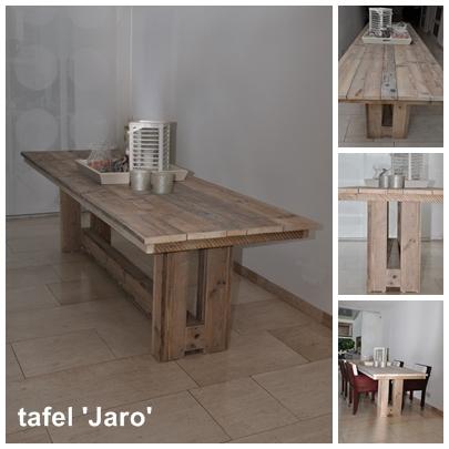 Eettafel Jaro Een favoriet model door ons ontworpen. Door de poten dicht bij elkaar en wat verder van de uiteinden te plaatsen, is het mogelijk om ook aan de kopse kanten plaats te nemen. De dwarsbalk geeft deze strakke tafel een klassiek, bijna kasteeltafelachtig tintje. Diverse maten mogelijk, enkele (prijs) voorbeelden: 1.80 x 0.90 – € 435,- 2.00 x 0.90 – € 455,- 2.40 x 0.90 – € 475,- 2.80 x 0.90 – € 495,- Andere maten: prijs op aanvraag.