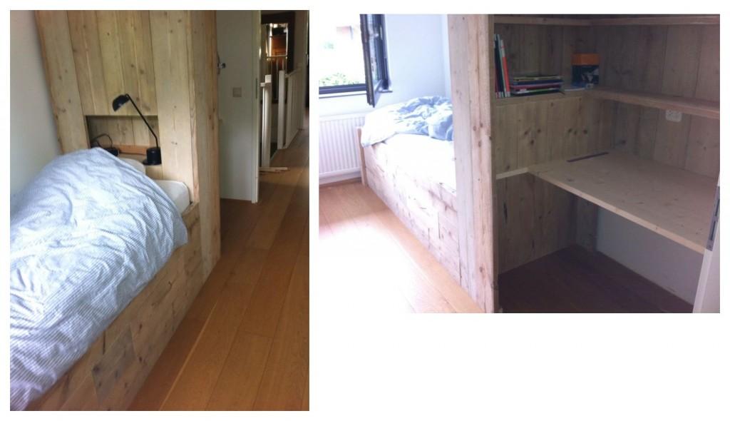 Tienerkamer 'Joep' Deze kamer is ontworpen voor een brugklasser. Belangrijk dus dat er voldoende ruimte is om te relaxen, te leren en om spullen op te bergen. Daarnaast is het mogelijk om in een handomdraai een logeerbed te voorschijn te toveren. Niet onbelangrijk op die leeftijd! Daarom bestaat dit alles in 1 meubel uit: - bed - logeerbed - bureau - nachtkastje - boekenplanken