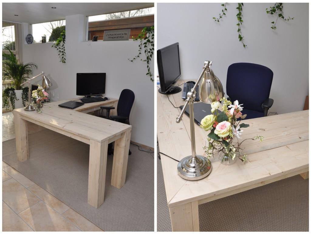 Hoekbureau Rob Gemaakt van onbehandeld nieuw steigerhout. Dit bureau heeft een strakke, frisse uitstraling. Uiteraard is er ruim voldoende voor computers en andere kantoorbenodigdheden. Door de slim geplaatste hoekpoot, kun je je ruim en vrij bewegen op een bureaustoel. Maten:  1.80 x 1.50 x 0.60  Prijs: € 535,- Andere maten en opstellingen zijn uiteraard ook mogelijk.