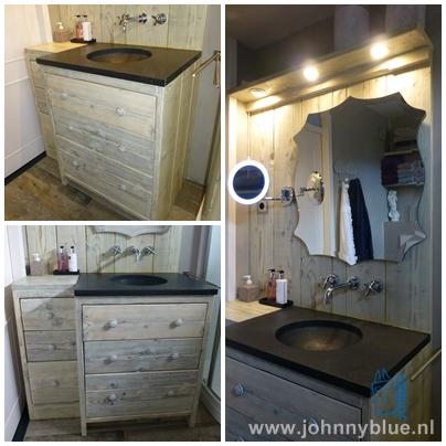 Wastafelkast Nice De zelfde basiskast als onze kast Anja, maar dan gespiegeld en aangekleed met een andere wasbak, spiegel en kranen.