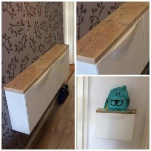 Schoenenkast Merel Een standaard schoenenkast van Ikea, voorzien van een mooie steigerhouten plank voor de finishing touch.