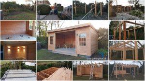 Van 0 tot tuinhuis Dit tuinhuis is ter plekke volledig van de grond af aan door ons opgebouwd. Dus geen bouwpakket of standaard werk, maar echt handwerk en volledig op maat gemaakt. Gemaakt van Douglas hout, voor langdurige kwaliteit en jarenlang plezier.